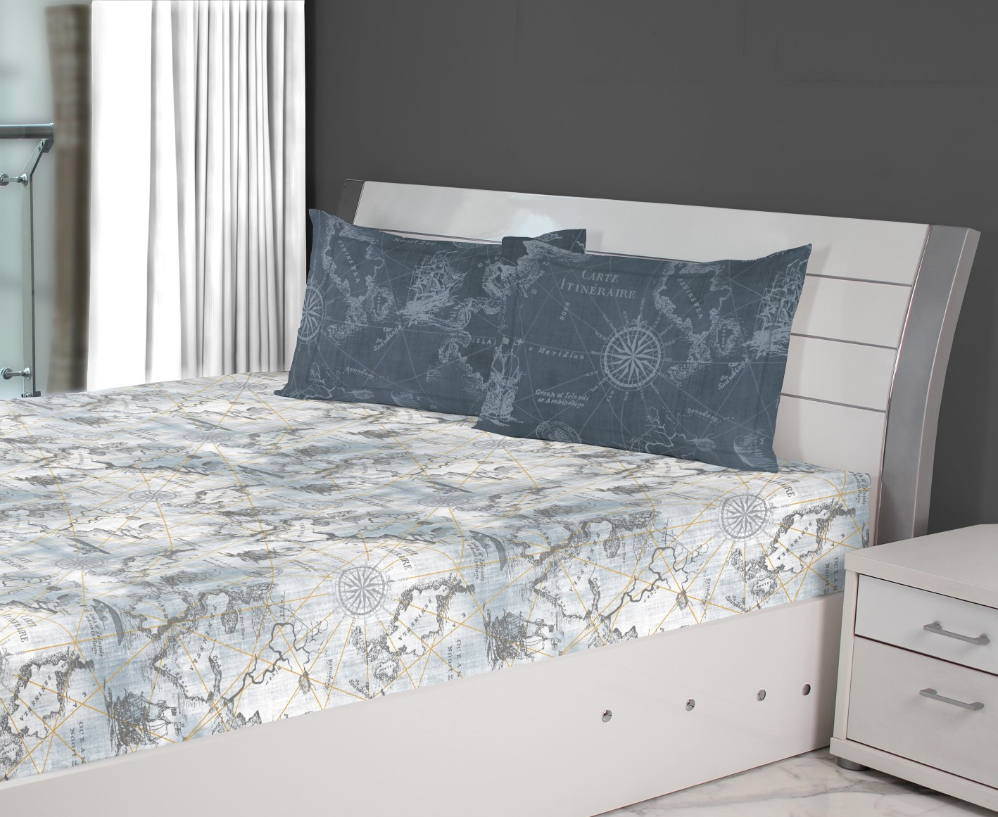 Nora Map Printed Cotton Double Bedsheets in Grey Colour by Living Essence