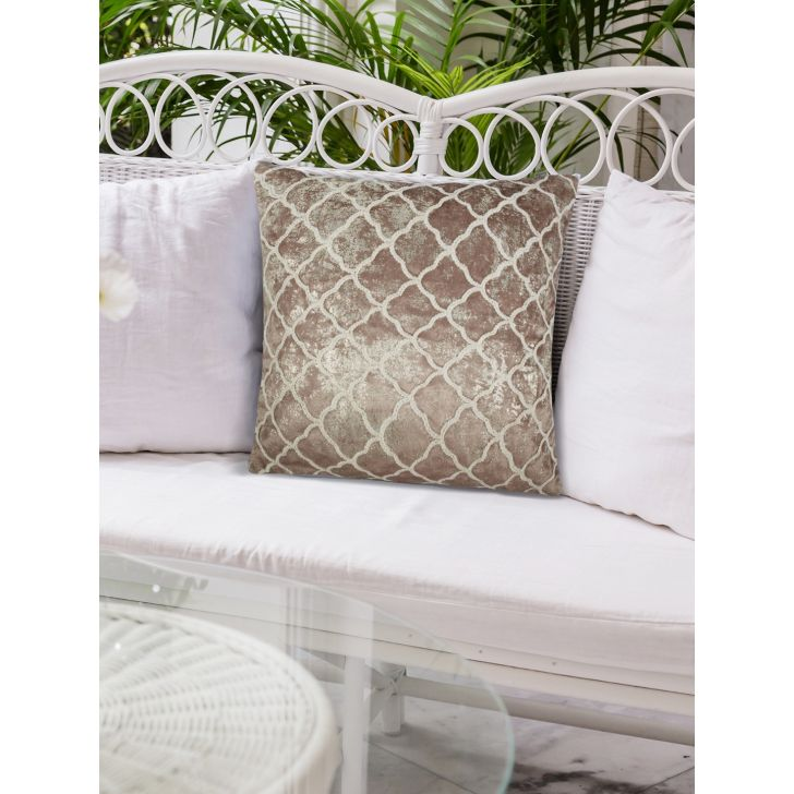 Chic Affair Trallice Polyester Cushion Covers in Toupe Colour by Living Essence