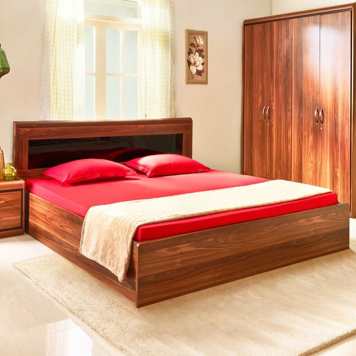 Archer Engineered Wood Box Storage Queen Size Bed in Walnut Colour by HomeTown