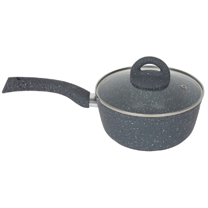 Granite Sauce Pan with lid Aluminium Sauce Pans in Gray Colour by Wonderchef