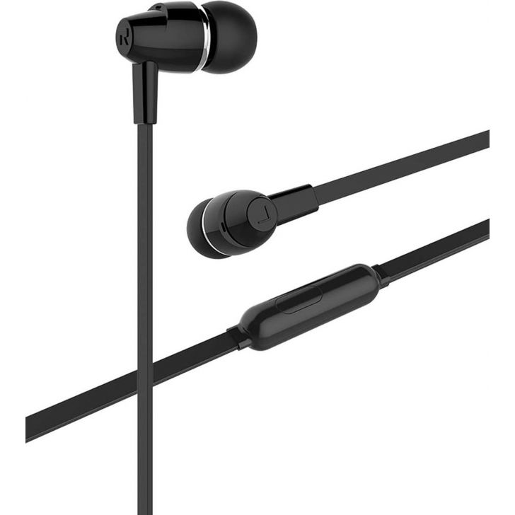 Wired Stereo Earphone with Mic Black by Koryo
