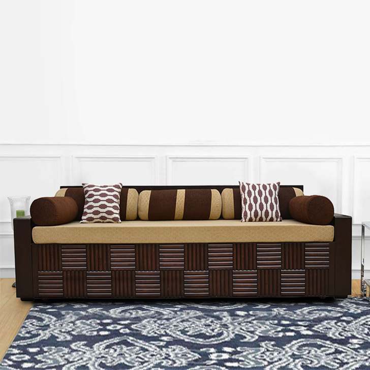 Shine Plywood Sofa Cum bed in Brown Colour by HomeTown