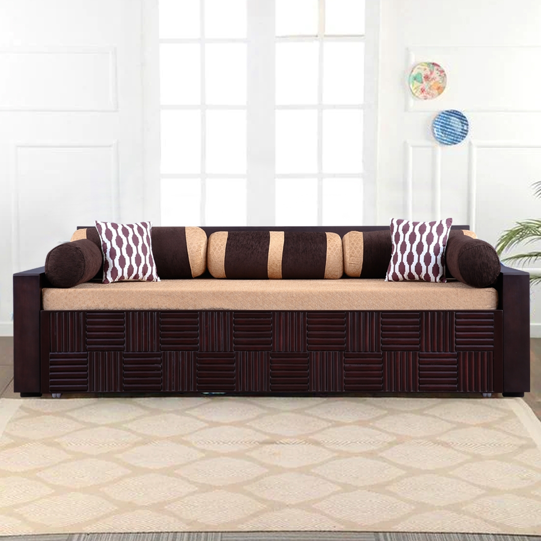Shine Fabric Sofa Bed In Brown, Brown Cloth Sofa Bed