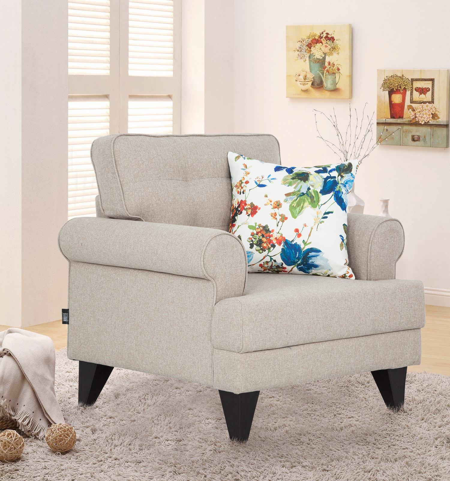 Miller Fabric Single Seater Sofa in Beige Colour by HomeTown