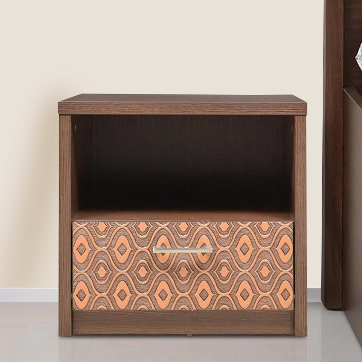 Nebula Engineered Wood Bedside Table in Coffee Brown Colour by HomeTown