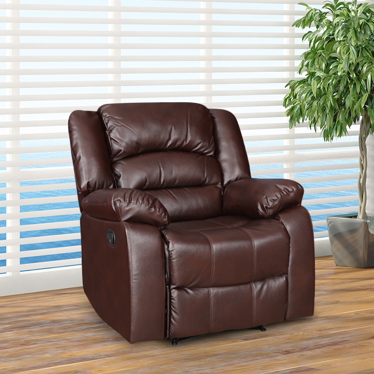 Bradford Fabric Single Seater Recliner in Brown Colour by HomeTown