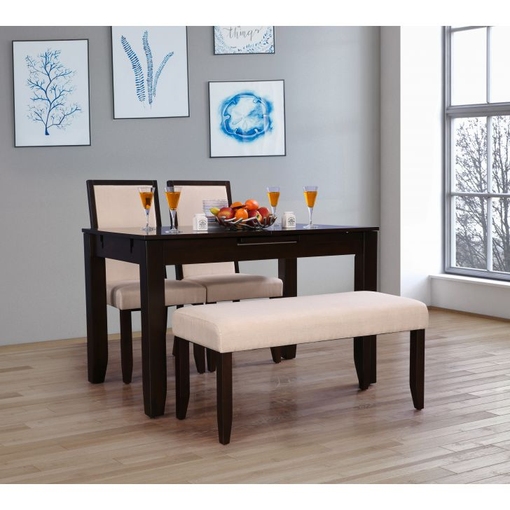 Flexi Solid Wood Four Seater To Six Seater Extension Dining Set With Bench in Cappuccino Colour by HomeTown