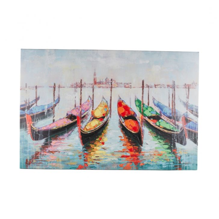 Clyde Landscape Boats Painting Canvas Paintings in Multicolor Colour by Living Essence