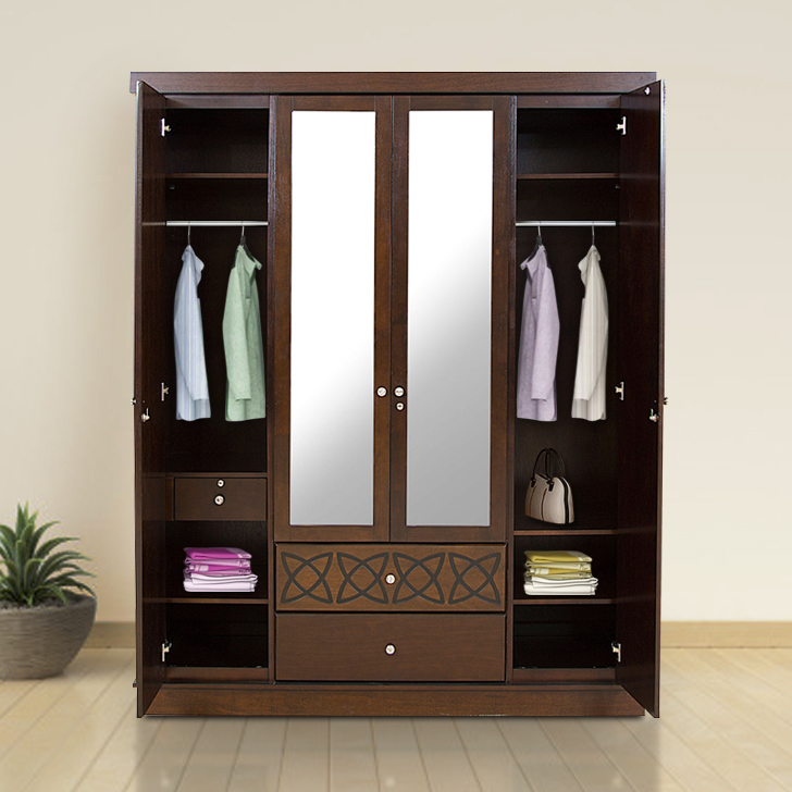Astra Solid Wood Four Door Wardrobe in Wenge Colour by HomeTown