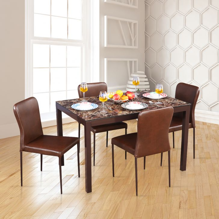 Modric Mild Steel Four Seater Dining Set in Brown Color by HomeTown