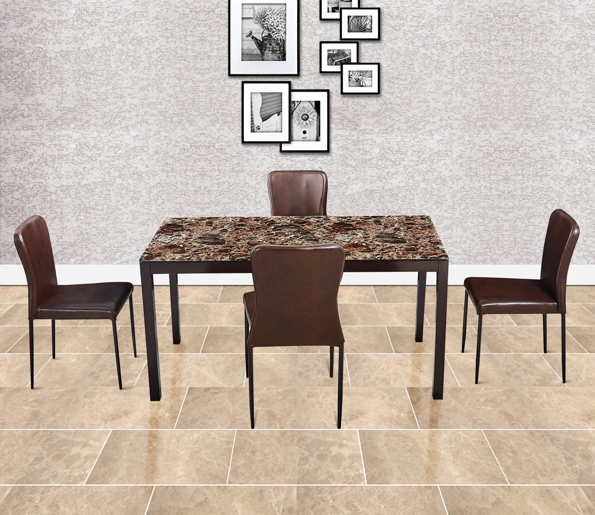 Modric Mild Steel Four Seater Dining Set in Brown Colour by HomeTown