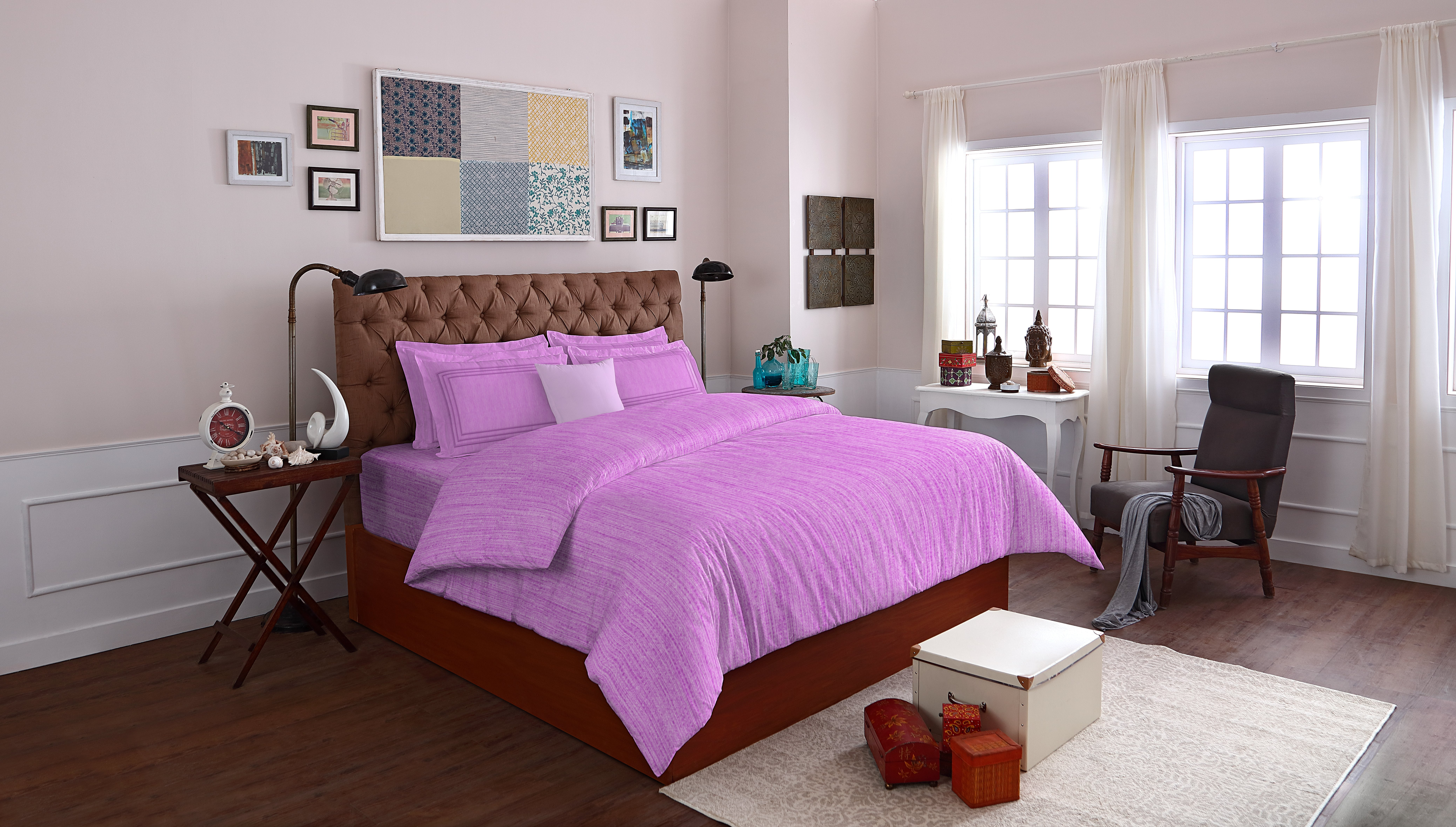 Spaces Essentials Cotton Double Bed Sheets in Light Pink Colour by Spaces