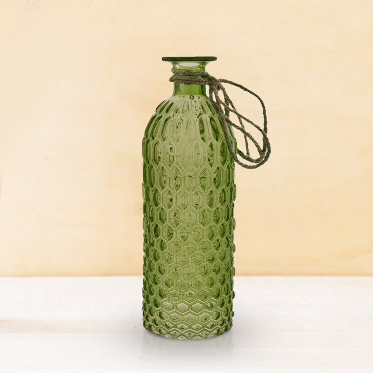 Verve Faceted Vase with Jute 25Cm Lime Glass Vases in Lime Colour by Living Essence