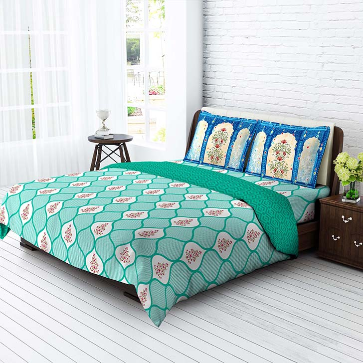 Tangerine Cotton King Bed Sheets in Aqua Colour by Tangerine
