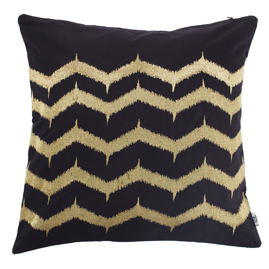 Zigzag Cushion Cover Cotton Cushion Covers in Gold Colour by Living Essence