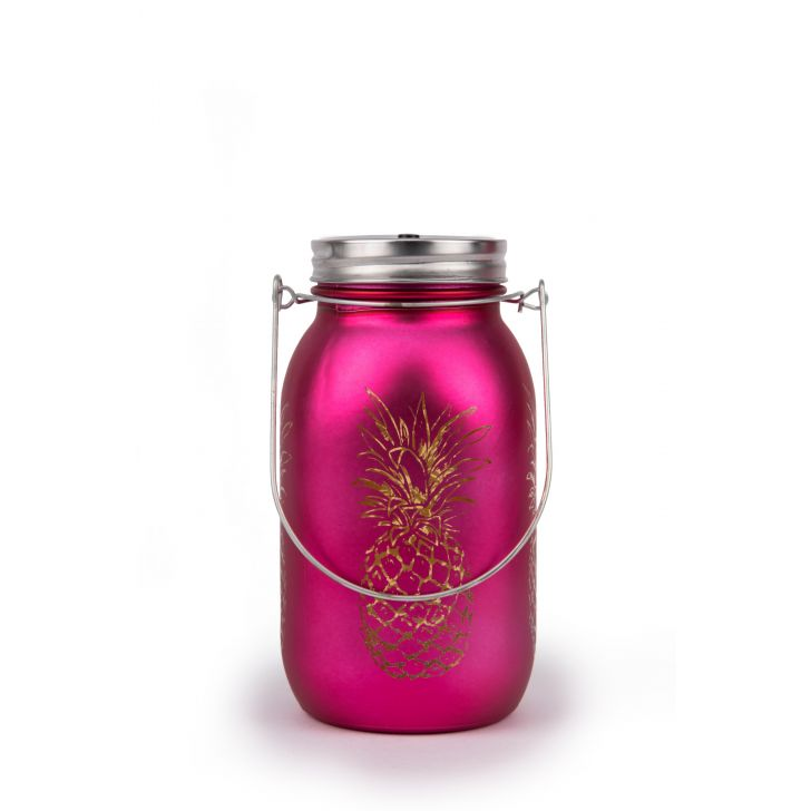 AW17 VENUS P.APPLE CUTOUT MASON JAR PINK Glass Accent Lighting in Pink Colour by Living Essence