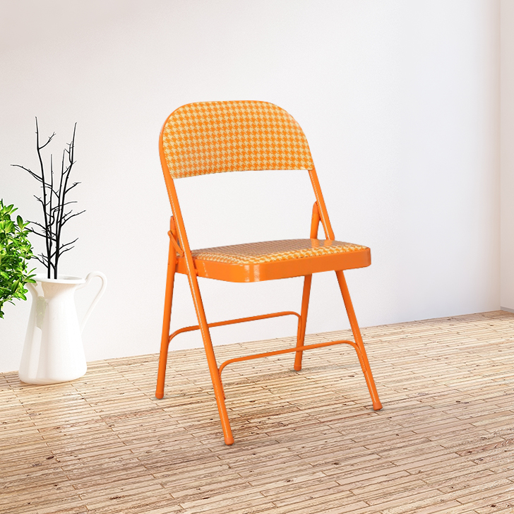 Clair Metal & Leatherette Folding Chair in Orange Colour By HomeTown