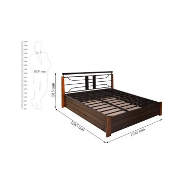 Buy Diamond Lifton Mild Steel Hydraulic Storage Queen Size Bed In