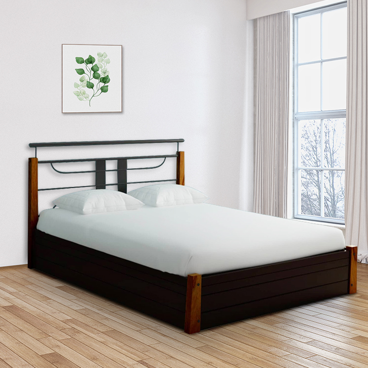 Diamond Lifton Mild Steel Hydraulic Storage Queen Size Bed in Black Colour by HomeTown
