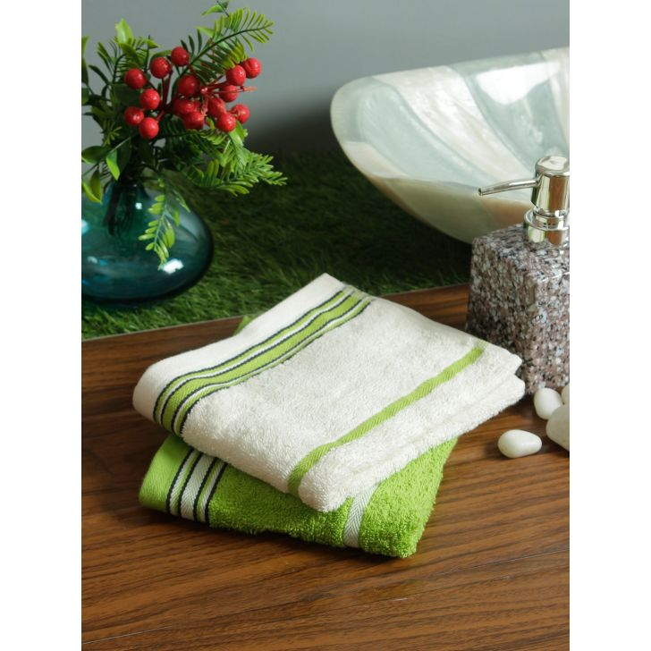 Set of 2 Emilia Cotton Hand Towels in Offwhite Lime Colour by Living Essence