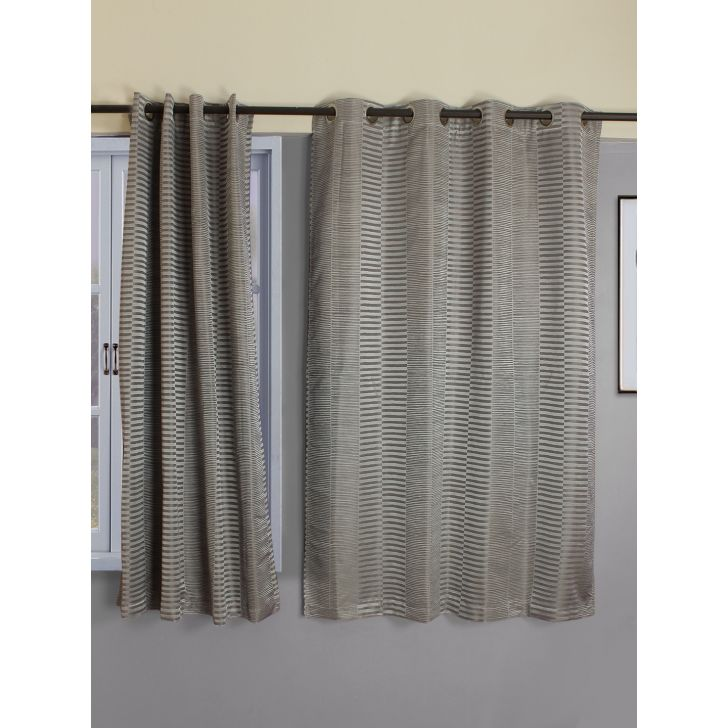 Emilia Jacquard Set Of 2 Blackout Window Curtain 120X160 CM in Charcoal Colour by Living Essence