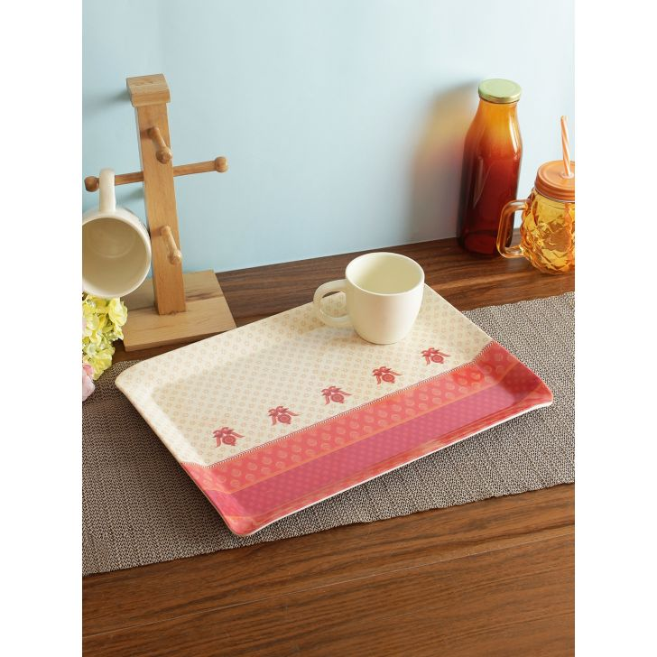 Nora Folklore Melamine Tray Large in Multi Colour by Living Essence