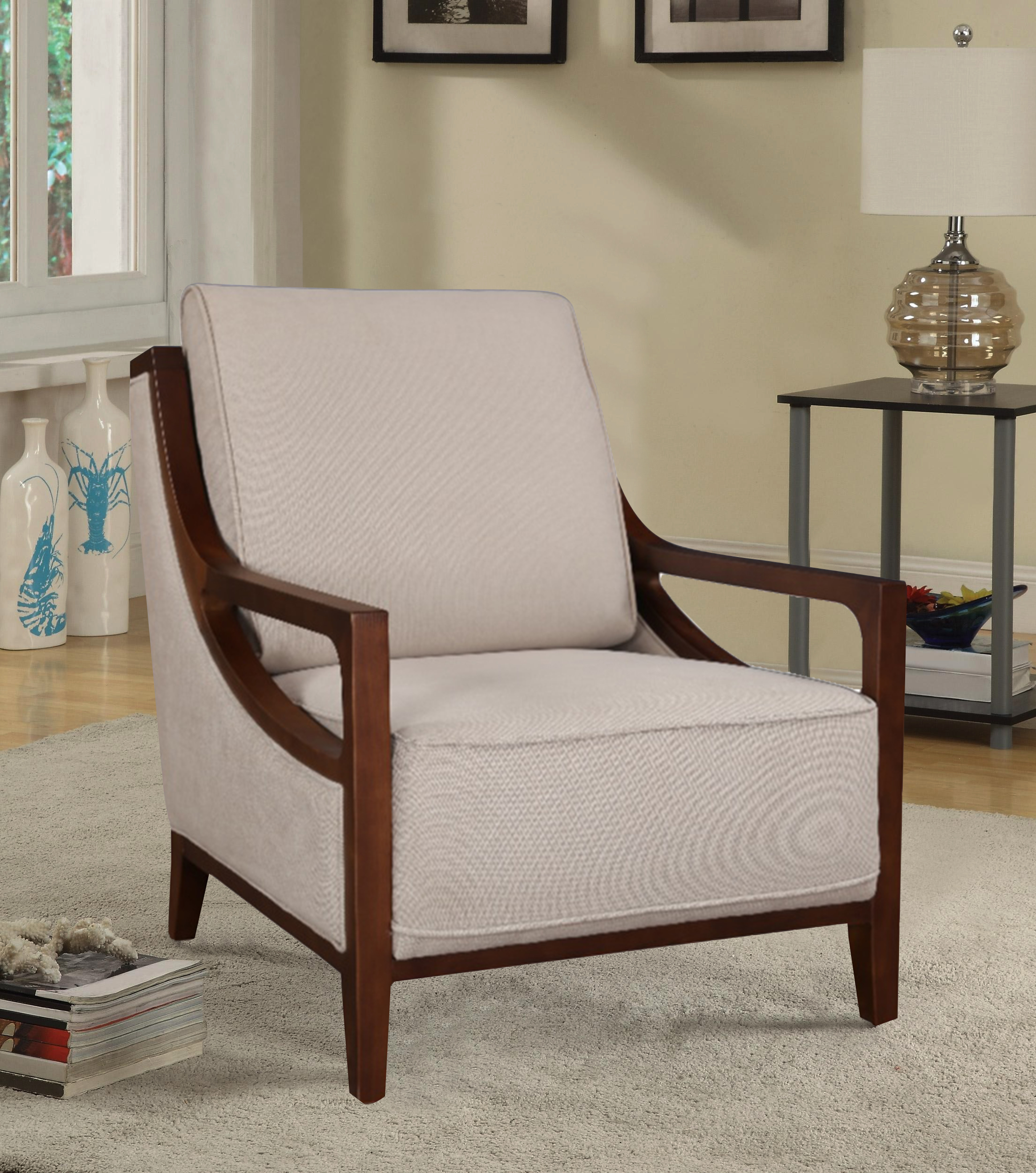 Sylvester Fabric Arm Chair in Beige Colour by HomeTown
