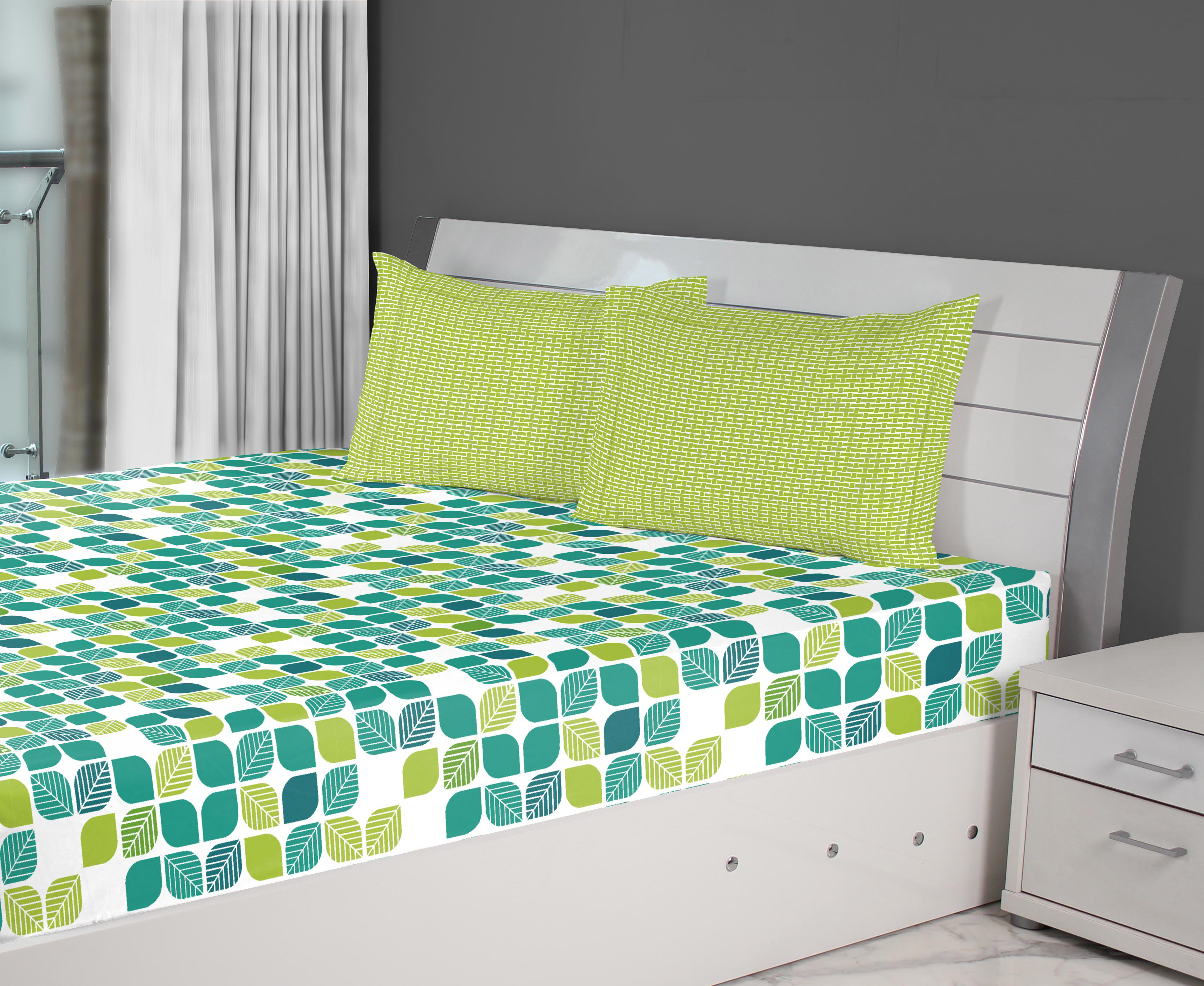 Fiesta Mosaic Cotton Double Bed Sheets in Teal Colour by Living Essence