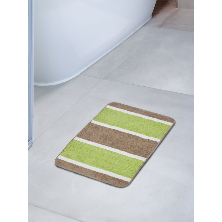 Emilia Set of 2 Polyester Bath Mats in Green Beige Colour by Living Essence