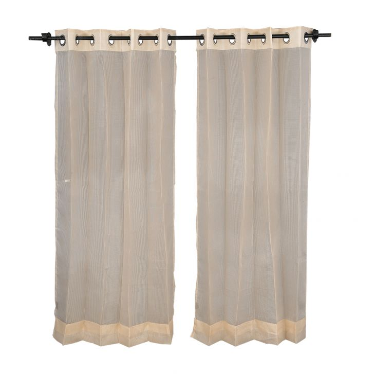 SIA Polyester Sheer Curtains in Gold Colour by Living Essence