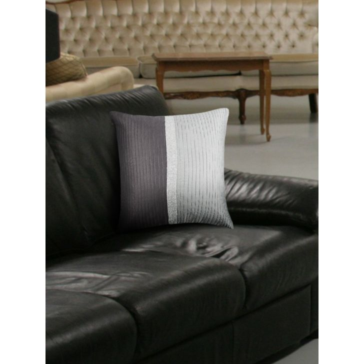 Modern Charles Polyester Cushion Covers in Charcoal Colour by Living Essence