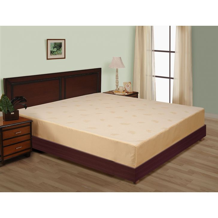 Solid Double Fitted Mattress Protector In Multicolor By Swayam