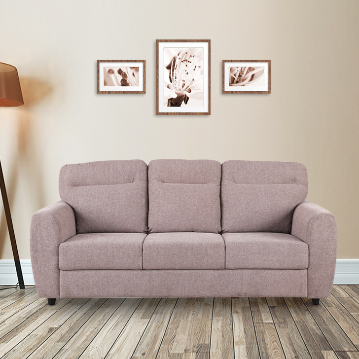 Chelsea Fabric Three Seater Sofa in Brown Colour by HomeTown