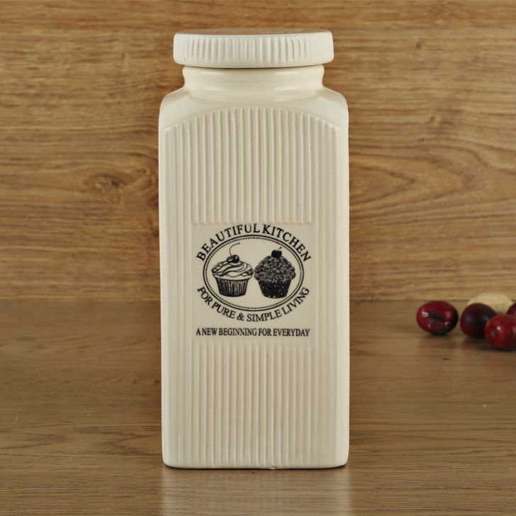 Bk Jar 1000 Ml Ceramic Containers in White Colour by Living Essence