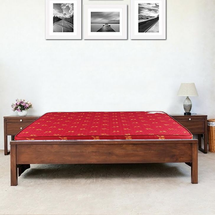 Mattress Solace Rubberized Coir King Bed (78*72*4) in Maroon Colour by HomeTown