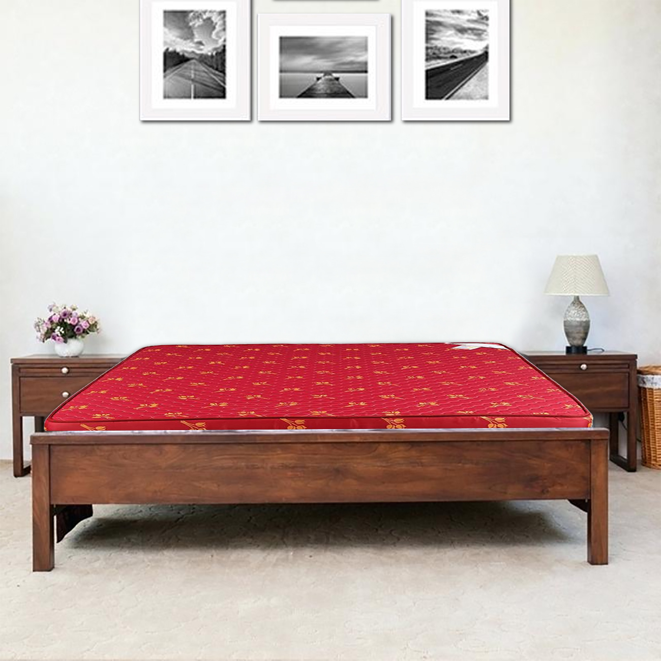 Solace Fabric King Bed Mattress in Maroon Colour by HomeTown