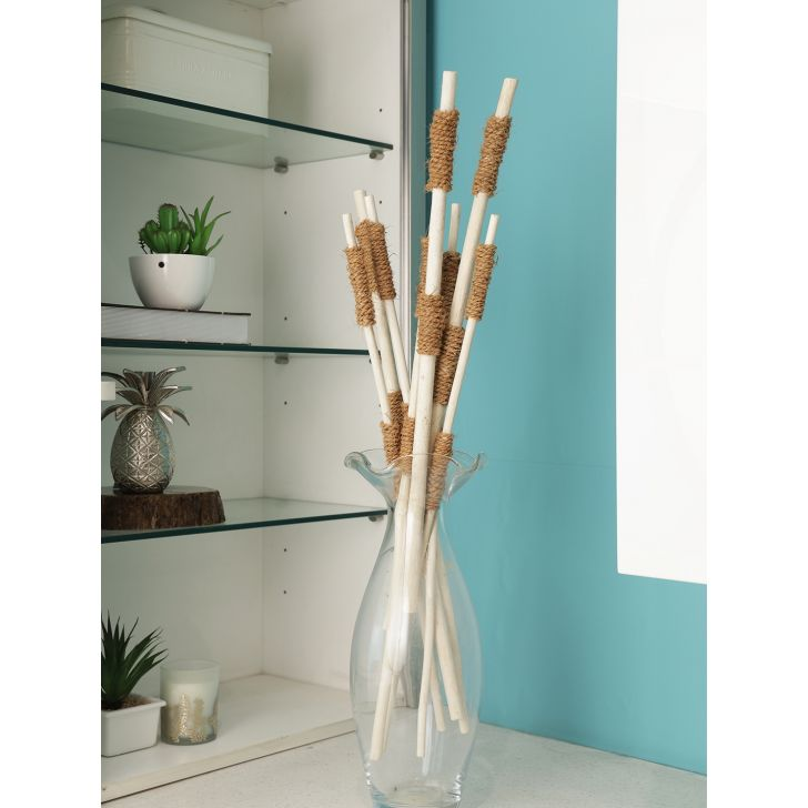 Wicker Dry Steel Jutestick With Rope Bunch in White Colour by Living Essence