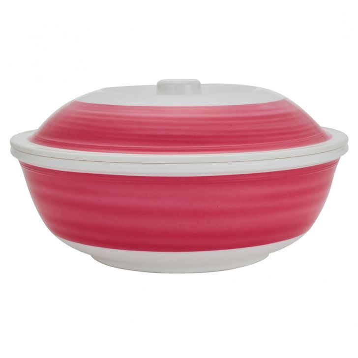 Urmi Fuschia Swirlserving Bowl With Lid Food Grade Melamine Serving Bowls in Multi Color Colour by Living Essence