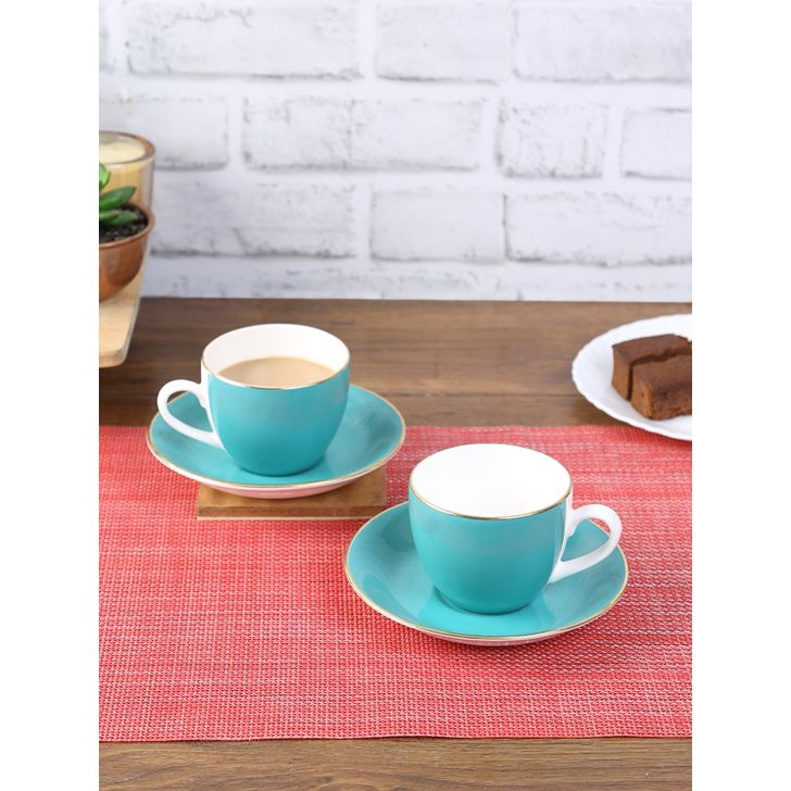 Living Essence Bone china Teal Cup & Saucers Set Of 12 in Teal Colour by Living Essence
