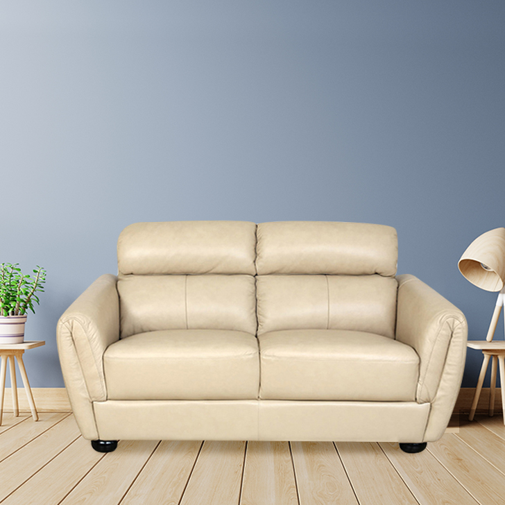 Hazel Half Leather Two Seater Sofa in Taupe Colour by HomeTown