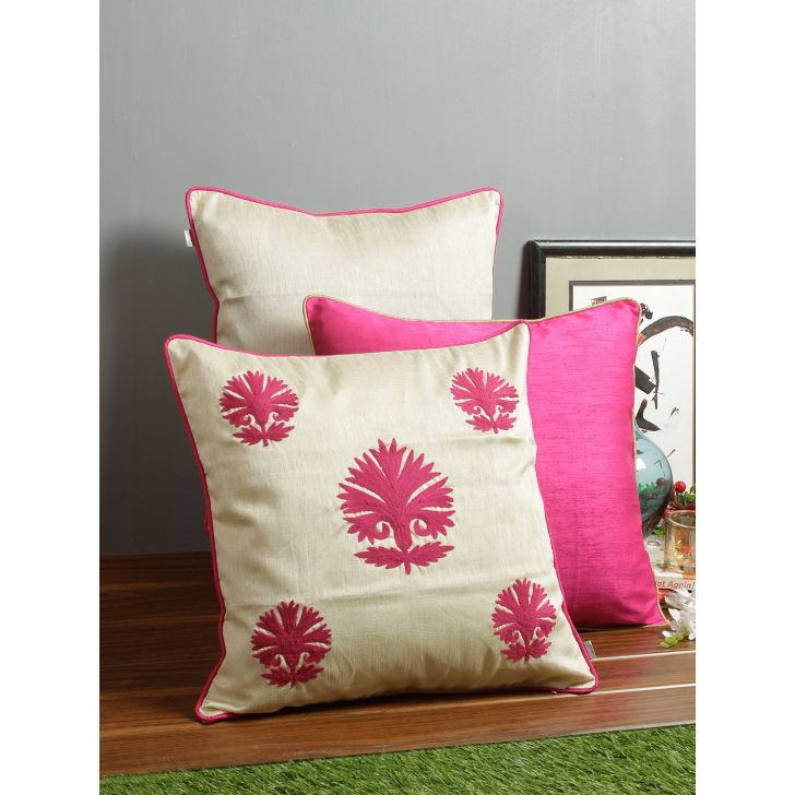 Set of 3 Fiesta Anar Polyester Cushion Covers in Off White Colour by Living Essence