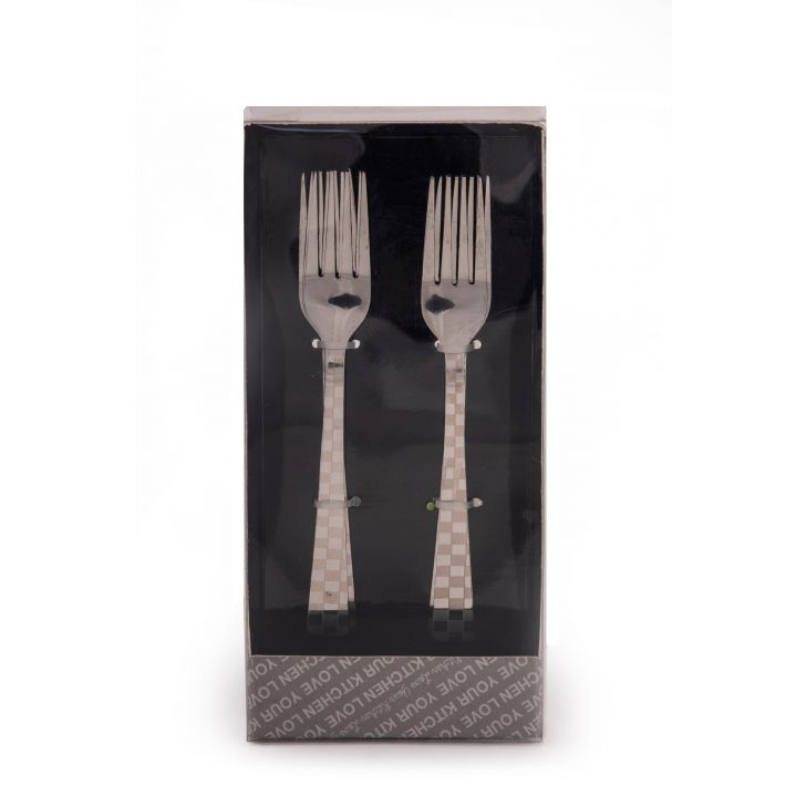 Chequered Baby Fork Set Of 6 Steel Forks in Silver Colour by Living Essence