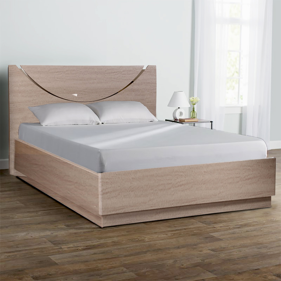 Alexandria Engineered Wood Hydraulic Storage King Size Bed in Light Marble Colour by HomeTown
