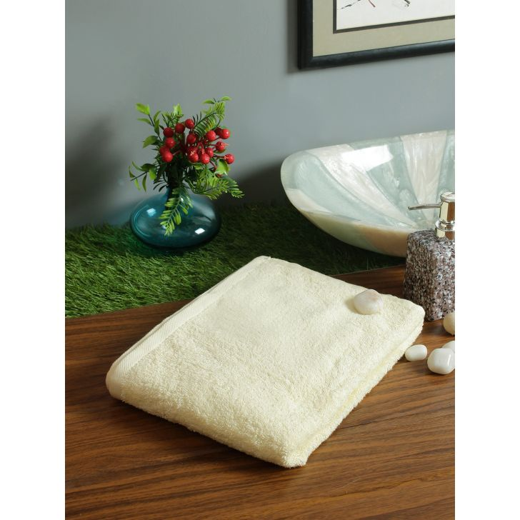 Fiesta Cotton Bath Towels in Almond Colour by Living Essence
