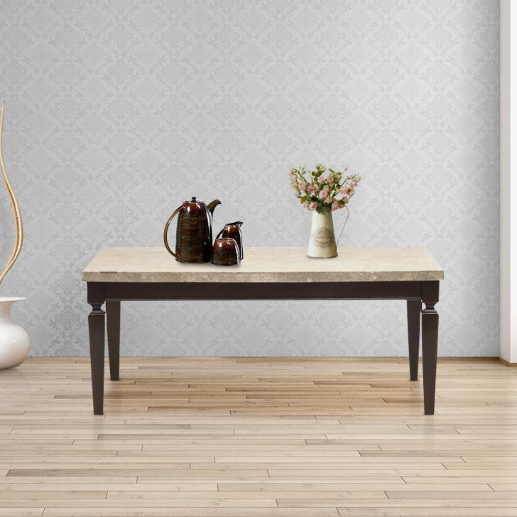 Bliss Solid Wood Center Table in Beige & Brown Colour by HomeTown