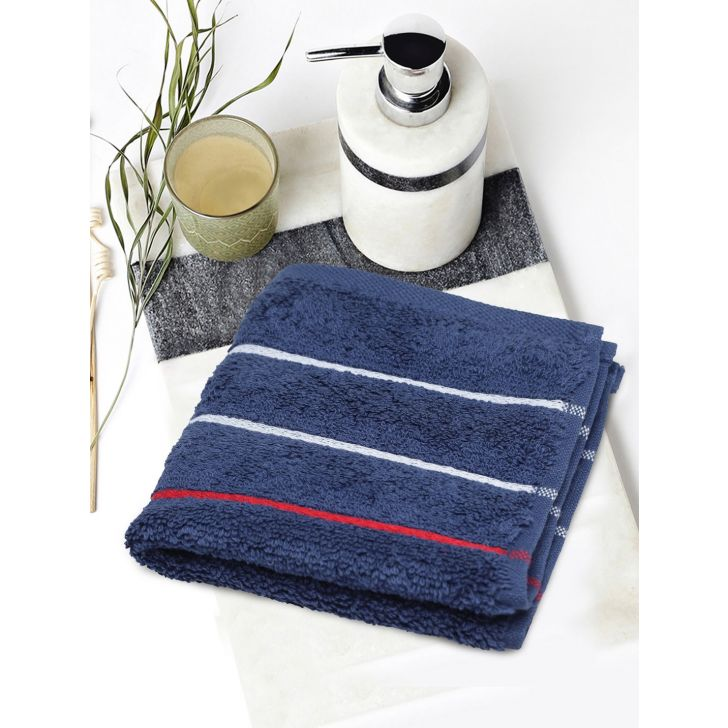 Portico New York Myra Multistripe Face Towel 30 cms x 30 cms in Navy Color by Portico