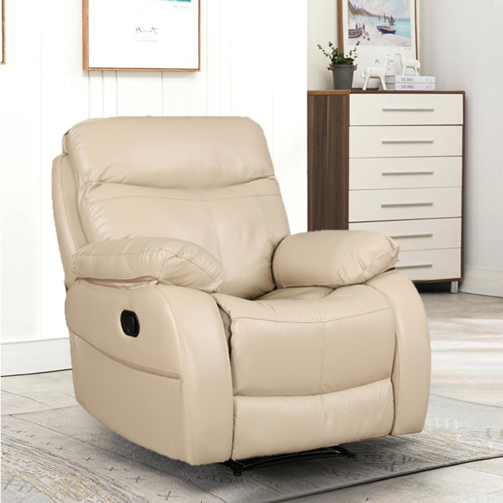 Russel Half Leather Single Seater Recliner in Beige Colour by HomeTown