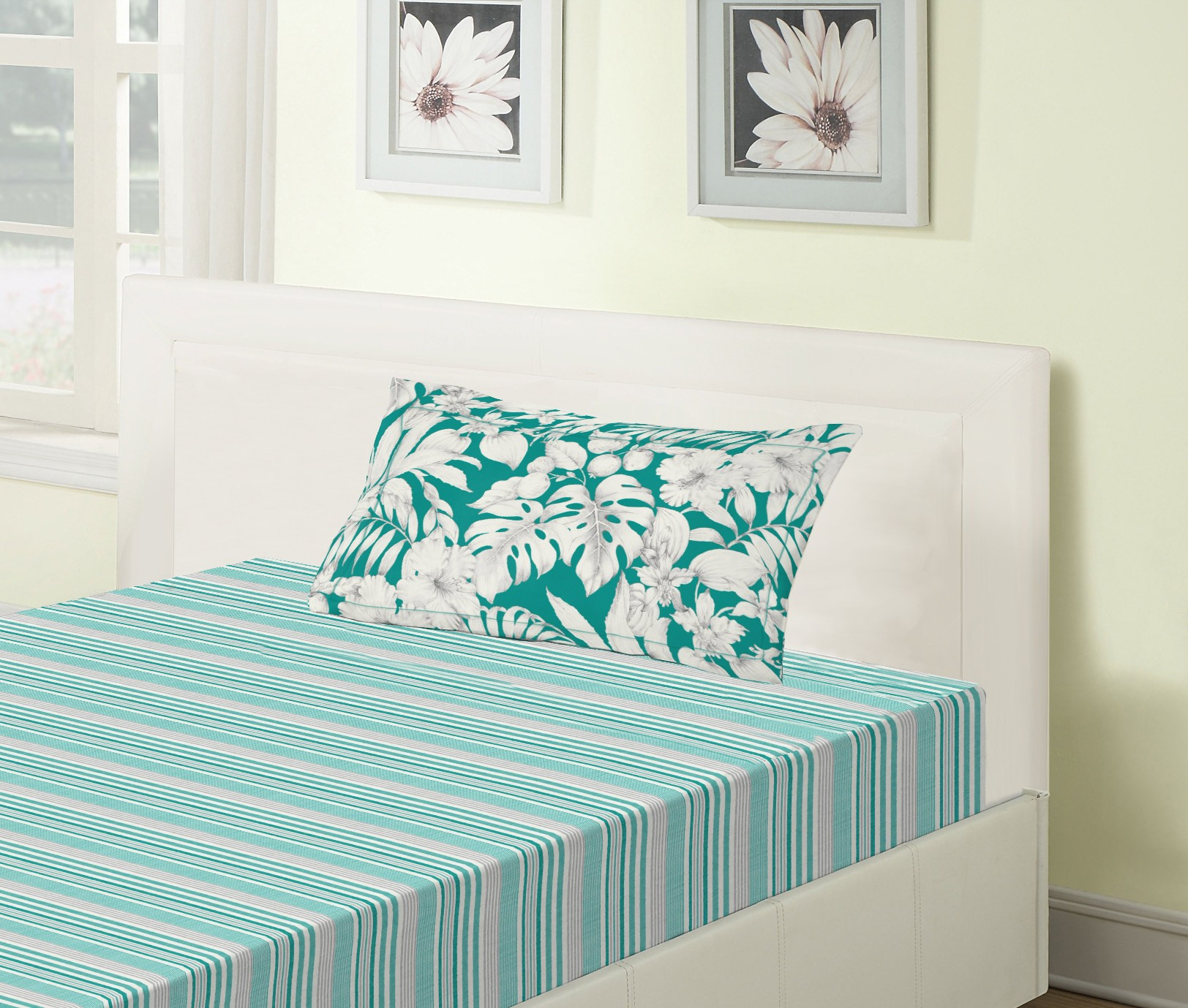 Emilia Cotton Single Bedsheets in Teal Colour by Living Essence