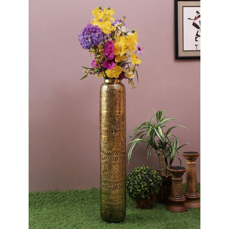Nivaan Etched Tall Metal Vases in Gold Colour by Living Essence