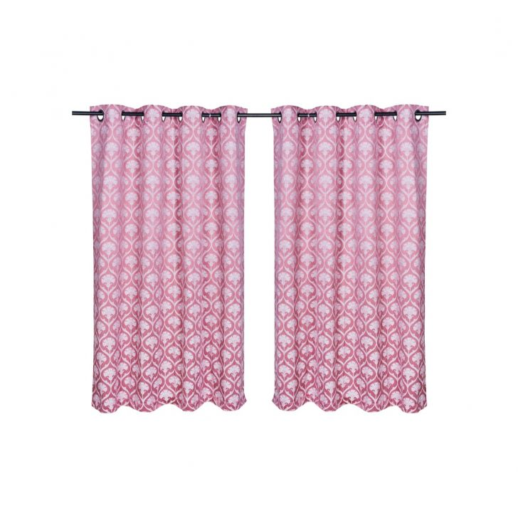 Fiesta Jacquard Polyester Window Curtains in Rose Colour by Living Essence